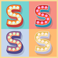 Vector of simple and clear flat lamp alphabet. Letter S