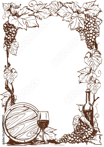 Hand drawn grape and bottle of wine. Vector decorative page