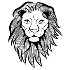 Lion head vector animal illustration sketch tattoo design.