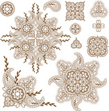 paisley design elements set
