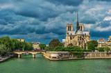 Notre Dame de Paris carhedral exterior riverside