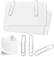 Blanks white paper, pin and clip. Vector illustration