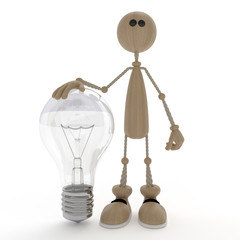 The 3D little man with a bulb.