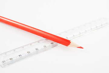 Stationery items. Pen, pencil and ruler