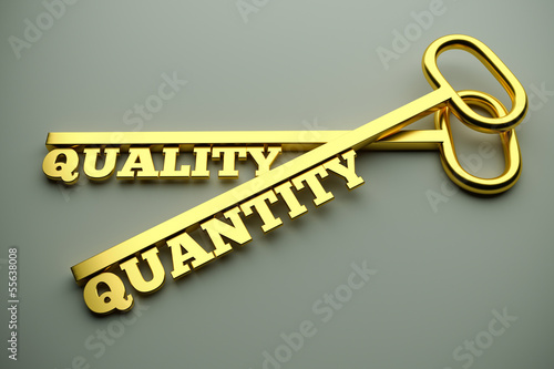 Quality Or Quantity concept with keys