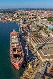Pula panorama with old shipyard