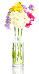 Beautiful bouquet of freesias in transparent vase, isolated