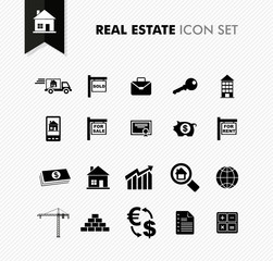 Real Estate fresh icon set.