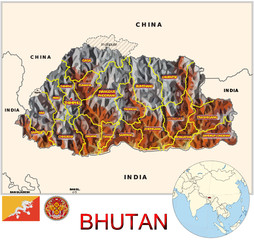 Bhutan Asia national emblem map symbol location