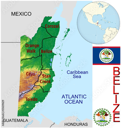 Belize America national emblem map symbol location