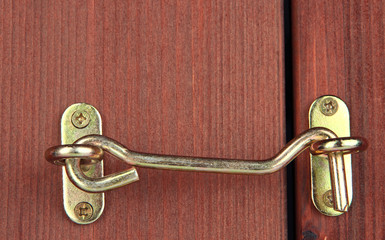 Metal hook in wooden door close-up