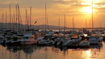 Sunset Marina Yachts Port Vacation Concept HD