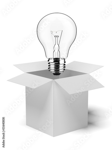 cardboard box with lit light bulb