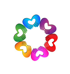 Teamwork Hands doing a heart colorful logo