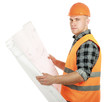 A young construcation worker with a draft