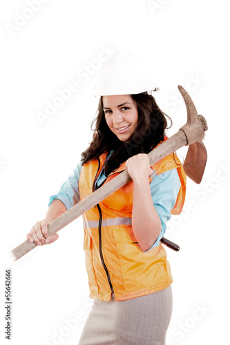 Female laborer with axe