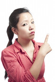Woman Pointing her Finger Backward
