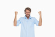 Smiling man in shirt cheering