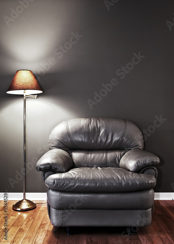 Armchair and floor lamp