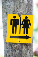 yellow toilet signs