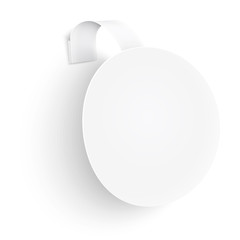 White round wobbler on white background.