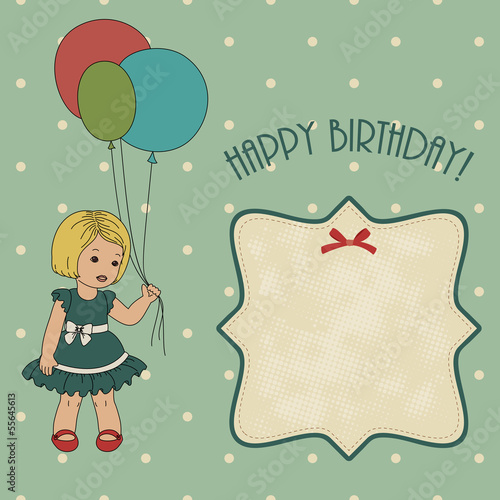 Retro birthday card with little girl