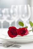 Romantic restaurant dinner setting