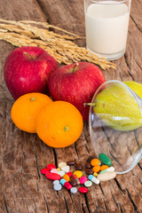 medicines and fruits