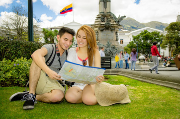 Couple of tourists in old town Quito Ecuador main plaza