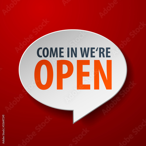 Open 3d Speech Bubble on red background