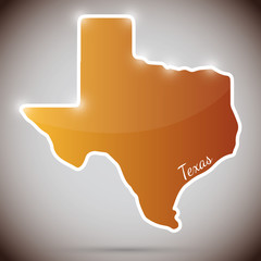 vintage sticker in form of Texas state, USA
