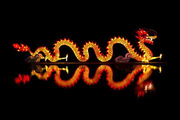 Chinese Dragon Lantern on pond