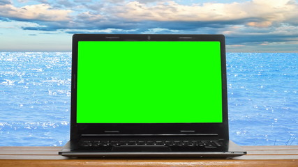 green screen on the background of the sea