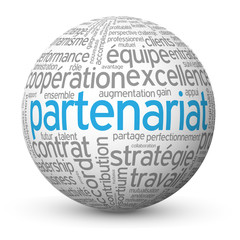 "Globe - Nuage de Tags ""PARTENARIAT"" (business affaires projets)"