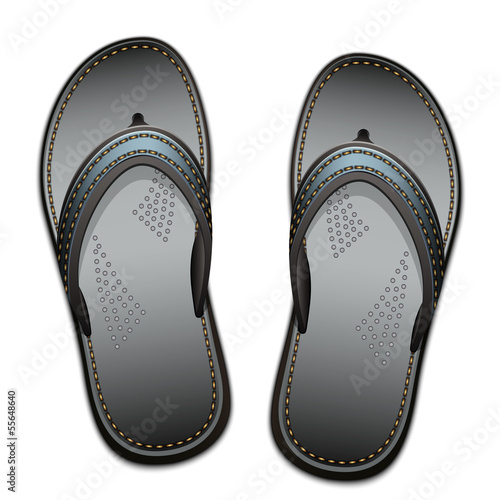 Pair of flip flops isolated on a white background, vector illust