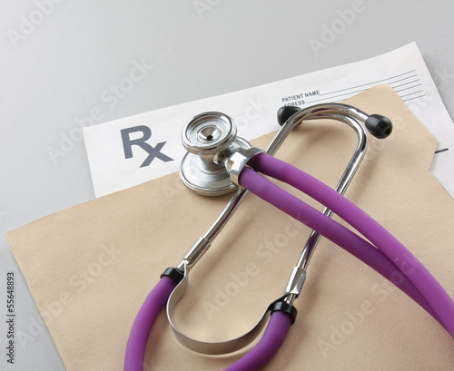Closeup of a stethoscope on a rx prescription