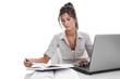 Studentin isoliert beim Lernen oder kaufmännische Angestellte