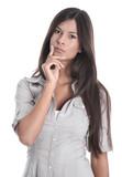 Junge schöne Frau isoliert nachdenklicher Blick