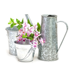 Watering can with pots and flower