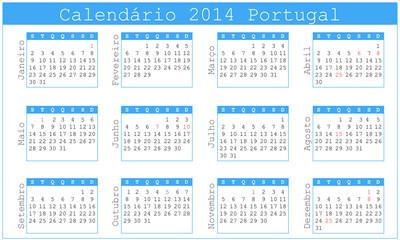 Calendário 2014 Português