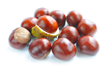 Chestnuts with crust on a white background