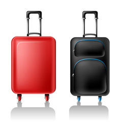 Two suitcases with wheels from front view