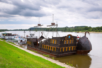 Ancient criuse ship on the Vistula river in Poland