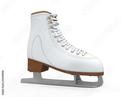White Figure Skates Isolated