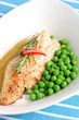 perch with green peas
