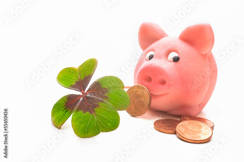 Four-leafed clover and piggybank