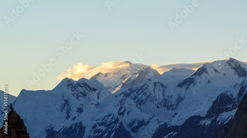 Sunrise in the mountains. Glacier Inylchek. Time Lapse