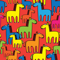 seamless pattern colored horse