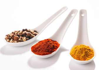 collection of hot spices in small spoons white porcelan
