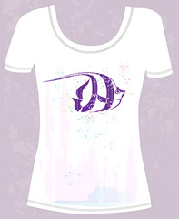 t-shirt with abstract fish